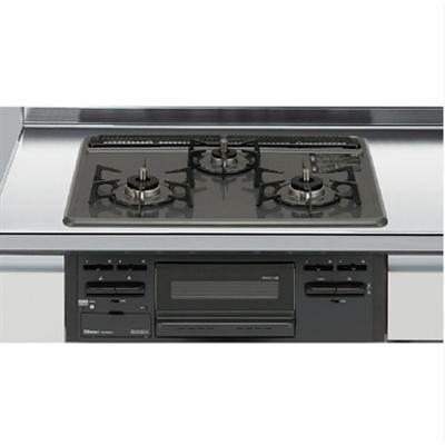 Image for R1633D0WHK132A セクショナルキッチン 木製キャビネット・GSシリーズ ガスキャビネット・ガス部・3口コンロ・ホーロートップタイプ(無水片面焼きグリル) ブラック 12A・13A