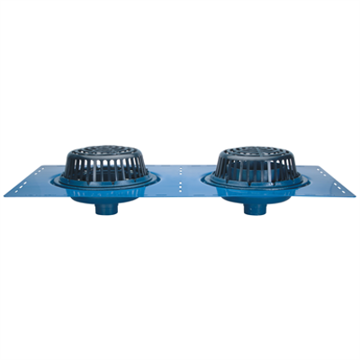"""Image for Z163 15"""" Diameter Combination Main Roof & Overflow Drain with Low Silhouette Domes and Double Top-Set Deck Plate"""
