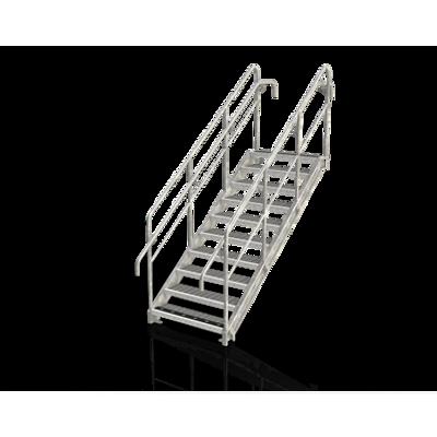 Image for Straight flight staircase, level tread, railing, intermediate rail
