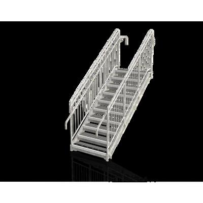 billede til Lige trappe, trin i niveau, gelænder med tremme