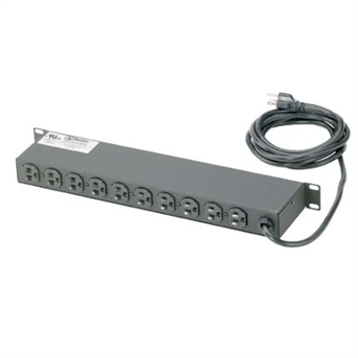 Image for Horizontal Power Strips, 15A or 20 A, 10 NEMA, 5-15R Receptacles or 5-20R Receptacles, NEMA 5-15P or 5-20P