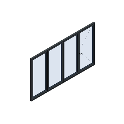 Image for MB-86 Fold Line Folding door 4-leaf 4-3-1 inward opening