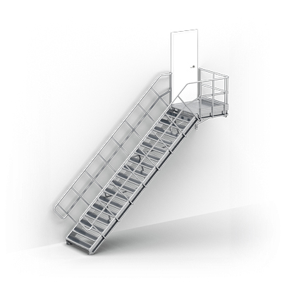 Image for Linea - straight stairs with landing industry by TLC, supported by brackets