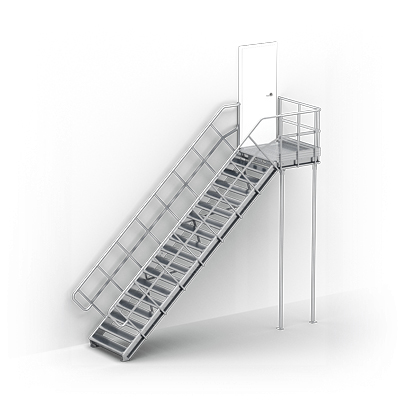 Image for Linea  - straight stairs with landing for industry by TLC, supported by posts